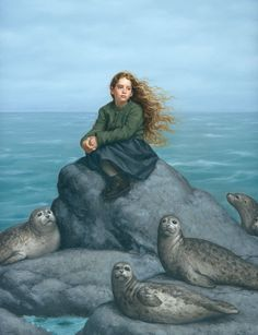 """Daughter of the Sea""... Selkies are mythological creatures found in Faroese, Icelandic, Irish, and Scottish folklore. They are said to live as seals in the sea but shed their skin to become human on land. The legend apparently originated on the Orkney and Shetland Islands and is very similar to those of swan maidens."