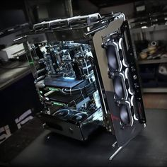 A monstrous, modded gaming build featuring two RTX an open air case, and some shiny chrome details Cheap Gaming Laptop, Gaming Computer Setup, Best Gaming Setup, Gaming Pc Build, Computer Build, Gaming Pcs, Gaming Room Setup, Pc Setup, Office Setup