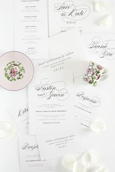 Vintage Script Wedding Invitations – Complete Package