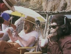 "Actors in makeup during a set break on the 1968 production of the original ""Planet Of The Apes"" starring Charlton Heston. Click the pic to watch the original theatrical trailer."