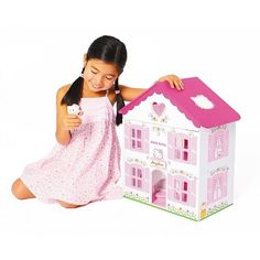 Hello Kitty Wooden Doll House With Hand Painted Figure & 14 Pieces Of Furniture