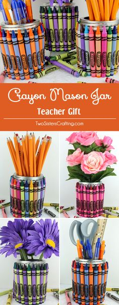 Crayon Mason Jar Teacher Gift - all you need is a Mason Jelly Jar, a box of crayons and a glue gun to make this fun and colorful Teacher Appreciation Gift. Add a gift card and you will have an end of the year teacher gift that will be truly appreciated. Pin this fun Homemade Gift for later and follow us for more great Teacher Appreciation Gift ideas.