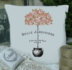 Belle Jardiniere French Instant Download Transfer Fabric Linen Digital Collage Sheet Graphic Printable by FrenchPaperMoon on Etsy