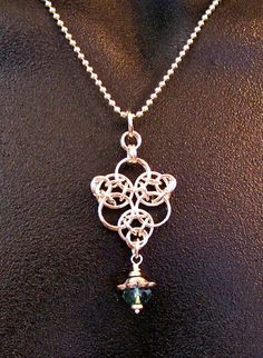 Sterling Silver Chainmaille Pendant with Ernite by CaptiveRingz