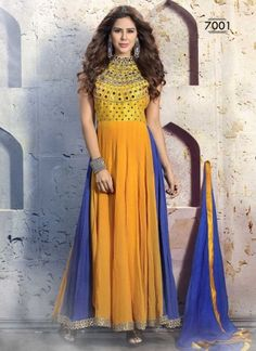 Fashionable Yellow And Blue Pure Georgette Mirror Work Salwar Suit #salwrakameez #salwarsuit #designersalwarkameez #anarkalisuit #pakisatnisuit   http://www.angelnx.com/Salwar-Kameez