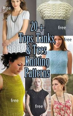 Knitting Patterns for Tops, Tanks, and Tees, many free patterns at http://intheloopknitting.com/tops-tanks-tees-free-knitting-patterns/