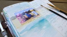 Midori Travelers Notebook.  Gorgeous Watercolouring..... love the idea of photo on back ground watercolor
