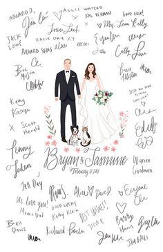 Custom Illustrated Wedding Guestbook Alternative door kathrynselbert