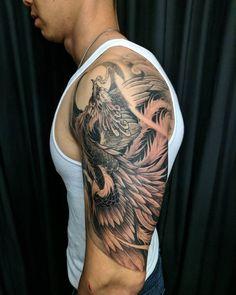 Irezumi Tattoos, Forearm Tattoos, Body Art Tattoos, Tribal Tattoos, Japanese Pheonix Tattoo, Japanese Sleeve Tattoos, Phönix Tattoo, Tattoo Set, Phoenix Tattoo Sleeve