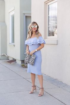 Scalloped Off the shoulder Dress
