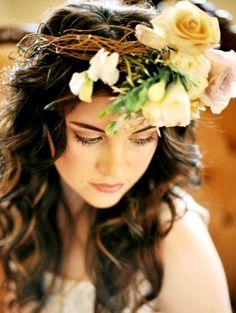 Bride's curly casual down bridal hair ideas Toni Kami Wedding Hairstyles ♥ ❶ Flower crown corona halo