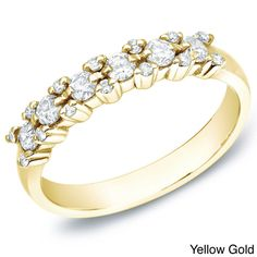 Auriya 14k White, Yellow or Rose Gold 1/2ct TDW Diamond Ring (H-I, I1-I2) (Size 8 - Yellow Gold), Women's