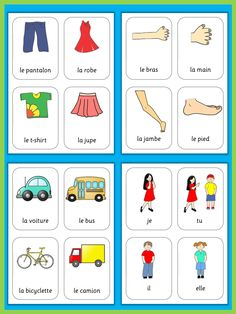 This set has 470 flashcards for your French lessons. They are a great visual help for introducing French vocabulary and cover all major topics from adjectives to weather. French Flashcards, Flashcards For Kids, French Worksheets, Color Flashcards, Learn French Online, Learn To Speak French, French Language Lessons, French Language Learning, French Teacher