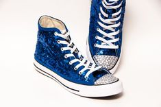 Tiny Sequin - Starlight Sapphire Converse® Canvas Hi Top Sneakers Shoes  with 5mm Rhinestoned Toes 3577102ca
