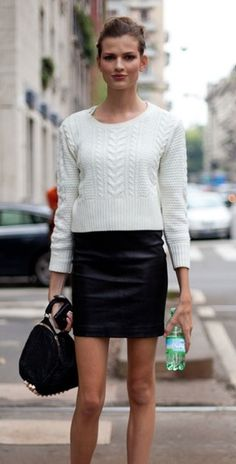 little white sweater w/black leather