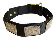 Nylon Dog Collar For Large and Medium Breeds With Vintage Plates for Rottweiler dog