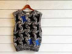 #vintage #80s #sweater #vest in chunky knit with abstract #stars. #black #white #blue #nerdy #etsy #shopping | ReRunRoom |  $24.00