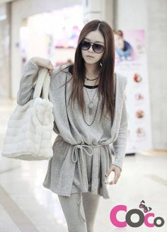 Grey Warm & Comfy Long Line Waist Belt Korean Fashion Hooded Cardigan
