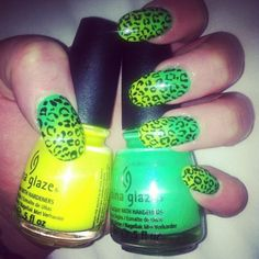 my nails! I used In The Lime Light by China Glaze as the first color then used Yellow Polka Dot Bikini by China Glaze and a sponge to ombre over it - then used a black nail art pen to do the leopard print and then OPI top coat!