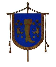 Sur fond #bleu est la #bannière de la corporation des #cordonniers de #Landau, ville située sur la route du vin en Allemagne. La région est réputée sa qualité de vie, ses paysages et son climat. Mais la ville de Landau fut française de 1648 à 1815 #couleur #numelyo #color #blu