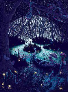 The Art Of Animation, James R Eads // moon jungle // drawing // night // Art Et Illustration, Illustrations, Art Inspo, Arte Horror, Pics Art, Psychedelic Art, Art Design, Impressionism, Impressionist Paintings