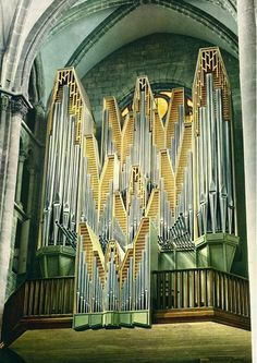 The organ of the Saint-Pierre Cathedral, Geneva (Switzerland). The organ was built by the factors Metzler & Son Dietikon (Switzerland).