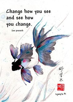 """Peace in Change""  Spontaneous(Xie Yi) style Chinese brush painting on rice paper by bgsearle with Zen proverb."