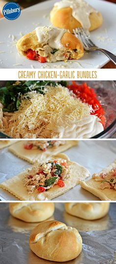 Turn crescent rolls into creamy chicken bundles that are super-packed with flavor! They even have garlic, cheese and bell pepper while the Alfredo sauce adds creaminess. Your family will love them!