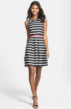 Belted Stripe Jacquard Fit & Flare Dress (Regular