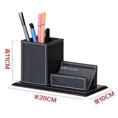 Multipurpose Office Accessories & Organizer Multifunctional Pen Holder Leather Name Card Desktop Storage Box