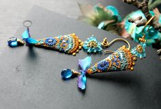 Silk ribbon Blue Topaz gemstones deep vivid sparkly by Peelirohini, $82.00