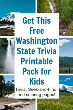 Take this Washington state trivia pack on your next road trip or vacation to the Evergreen state. The free printable includes 10 fun facts about Washington, 2 coloring pages, and a Seek and Find game! #washington #evergreen #wa #Seattle #washingtontravel #rufflesandrainbotos via @momtoelise