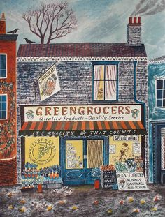 City Illustration - Heavily influenced by the old-timey feeling of her hometown in Yorkshire England, illustrator Emily Sutton often depicts adorable storefront window. Art And Illustration, Illustrations And Posters, Sketches Arquitectura, Guache, Naive Art, Conte, Folk Art, Art Prints, Drawings