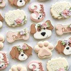 Puppy Birthday Parties, Puppy Party, Birthday Cookies, 2nd Birthday, Birthday Ideas, Cat Cookies, Cupcake Cookies, Puppy Cupcakes, Sugar Cookies
