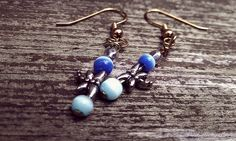 Dragonfly Skies Dangle Earrings by thedragonsdencrafts on Etsy