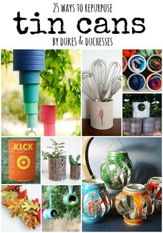 Save those food containers and repurpose tin cans into something unique with one of these 25 clever upcycled ideas! Aluminum Can Crafts, Tin Can Crafts, Metal Crafts, Diy And Crafts, Coffee Can Crafts, Aluminum Cans, Recycle Cans, Reuse, Recycling