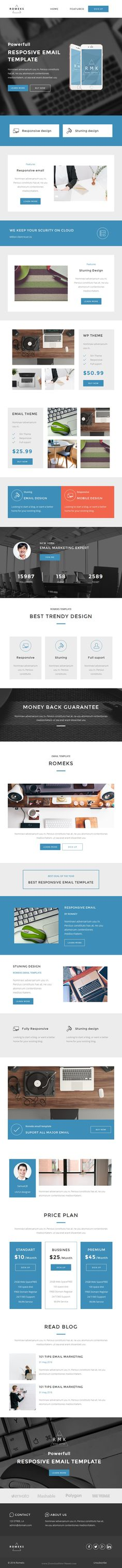 Romeks Responsive email template designed for multipurpose bussines to gain new clients or customers. Newsletter #emailtemplate Download Now!