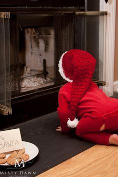 Crochet Santa hat, Christmas Hat, Chirstmas Baby, Santa Stocking Hat, READY TO SHIP, Toddler, Photo Prop, Red, White, Sweetness in Smyrna. $27.99, via Etsy.
