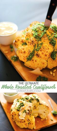 Wow your guests with this Ultimate Whole Roasted Cauliflower recipe! Slathered in whipped feta and drizzled with herb sauce, this is a healthy statement-making dish I think you're really going to love. Full of flavor and perfect as a Thanksgiving recipe, this recipe is also gluten-free and vegetarian. // Live Eat Learn