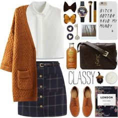 plaid skirt by jesuisunlapin on Polyvore featuring polyvore fashion style Chicwish ASOS Yves Saint Laurent Olivia Burton Brooks Brothers American Apparel Bobbi Brown Cosmetics Hourglass Cosmetics REN Polaroid plaid cardigan oxford JeSuisunLapin autumnstyle