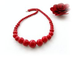 Red Coral Necklace Gemstone Necklace Choker by CraftsbySigita
