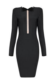 Honey Couture ARA Black Long Sleeve Mesh Cut Out Mini Bandage Dress