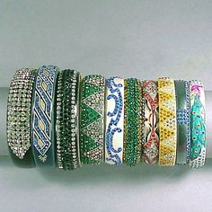 Celluloid Rhinestone Encrusted Bracelets - Doyle New York