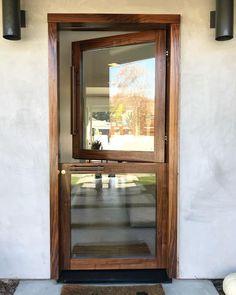 Modern Glass Dutch door in gorgeous walnut