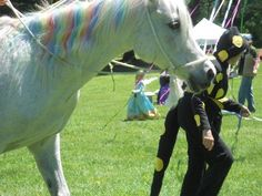 Sweetie the Unicorn and the Salamander Queen enjoyed dancing the Maypole at the Maryland Faerie Festival