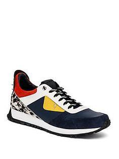 Fendi Bugs Calf Hair & Leather Sneakers - Color - Size 6 : Fendi S