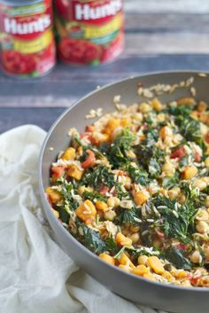 Sweet Potato Rice Skillet: 1 lb sweet potatoes (cut into ¾ inch cubes, about 1 cup) 1 tbsp olive oil ? Tasty tip 2 tsps cumin 12 ozs kale (or one bunch, stems removed and roughly chopped) 141/2 ozs diced tomatoes (Hunt's) 141/2 ozs chickpeas (rinsed and drained) 1 cup white rice (uncooked) 2 cups vegetable broth (or chicken broth if not vegan) salt (to taste) pepper (to taste)