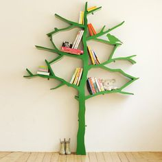 This tree bookcase would be adorable in a kid's room or playroom. or in my living room, whatever. Tree Bookshelf, Tree Shelf, Bookshelf Ideas, Kids Bookcase, Bookshelf Design, Childrens Bookcase, Unique Bookshelves, Tree Wall, Nursery Bookshelf
