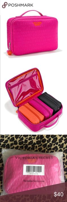 """NWT Victoria's Secret 4-pc Beauty Bag Travel Case NWT Victoria's Secret 4-pc Beauty Bag Travel Case Color: hot pink (travel case); orange, hot pink, and black (beauty bags) Size: OS Condition: NWT Product Details  Ready for anything: a travel case with a trio of small beauty bags inside perfect for makeup, jewelry and other beauty essentials.  Includes 3 removable small beauty bags inside  Travel case has interior pocket with zip closure T  ravel case: 10""""L x 3½"""" W x 7""""H  Small beauty bag…"""