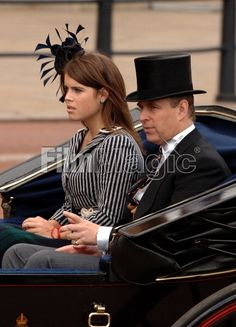 Picture of Prince Andrew Duke of York and his daughter Princess Eugenie sit together in an open carriage at the Trooping the Colour Ceremony in London on June 16 FilmMagic Duchess Of York, Duke Of York, Duke And Duchess, Prinz Andrew, Pictures Of Prince, Princess Eugenie, Royalty, Daughter, June 16